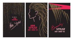 Biglietti da visita dello stilista di capelli con i capelli e le forbici astratti dell'oro Fotografie Stock