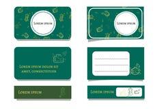 Biglietti da visita di verde smeraldo del modello con le bottiglie e le piante Ornamento floreale e dadi bianchi per testo Illust royalty illustrazione gratis