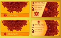 Biglietti da visita floreali della mandala Fotografia Stock