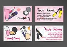 Biglietti da visita nello stile dell'acquerello con l'immagine dei cosmetici Fotografia Stock