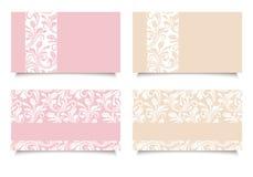 Biglietti da visita rosa e beige con i modelli floreali Vettore EPS-10 Fotografie Stock Libere da Diritti