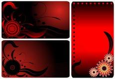 Biglietti da visita rossi del fiore Fotografia Stock