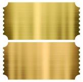 Biglietti del cinema o di teatro dell'oro messi isolati Fotografia Stock