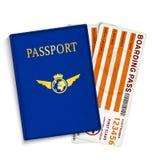 Biglietti del passaggio di imbarco del passeggero di linea aerea Immagini Stock Libere da Diritti