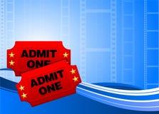 Biglietti di film sulla priorità bassa della pellicola Immagini Stock