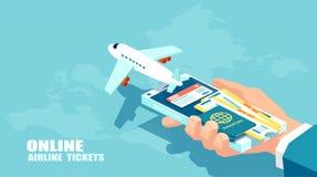 Biglietti di linea aerea di prenotazione e concetto online di assicurazione del viaggiatore Vettore del viaggio, voli di affari u immagine stock libera da diritti