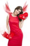 Biglietti di S. Valentino Angel Girl fotografia stock libera da diritti