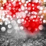 Biglietti di S. Valentino cuore & fondo di struttura di lerciume dell'argento Immagine Stock Libera da Diritti
