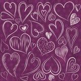 Biglietti di S. Valentino cuore, vettore del disegno della mano illustrazione vettoriale