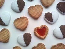 Biglietti di S. Valentino dei cuori dei biscotti Immagini Stock Libere da Diritti