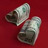 Biglietti di S. Valentino del dollaro Fotografia Stock Libera da Diritti