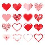 Biglietti di S. Valentino di passione di amore messi icone differenti dei cuori Immagini Stock Libere da Diritti