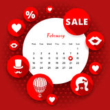 Biglietti di S. Valentino e calendario piani delle icone illustrazione vettoriale