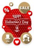 Biglietti di S. Valentino piani messi icone, simboli di amore Fotografie Stock Libere da Diritti