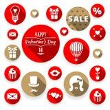 Biglietti di S. Valentino piani messi icone, simboli di amore Immagini Stock Libere da Diritti