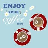 Biglietti di S. Valentino romantici rossi del fiore della tazza di caffè di saluto Fotografie Stock