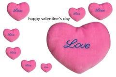 Biglietti di S. Valentino rosa del cuore su fondo bianco fotografia stock