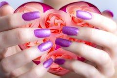 Biglietti di S. Valentino scheda-Rosa e cuori in mani femminili Fotografie Stock Libere da Diritti