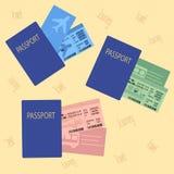 Biglietti di treno del bus dell'aeroplano con il passaporto illustrazione di stock