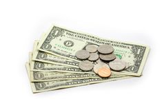 $1 biglietti e moneta - isolati Fotografia Stock