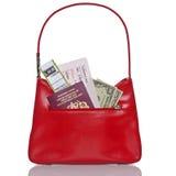 Biglietti e soldi del passaporto della borsa isolati su bianco. Fotografie Stock