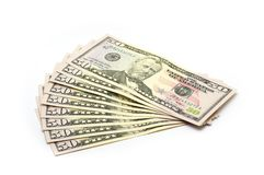 $50 biglietti - isolati Immagini Stock Libere da Diritti
