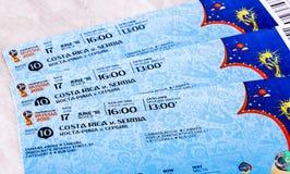 Biglietti per la coppa del Mondo 2018 della FIFA in Russia Fotografia Stock Libera da Diritti