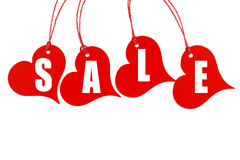 Biglietti rossi dell'etichetta di promozione delle vendite del cuore Fotografia Stock