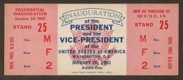 Biglietto all'inaugurazione del John F. Kennedy fotografie stock