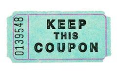 Biglietto blu del buono Fotografia Stock