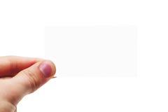 Biglietto da visita in bianco (isolato) Fotografia Stock Libera da Diritti