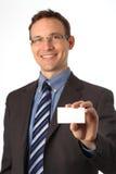 Biglietto da visita in bianco in una mano Fotografia Stock