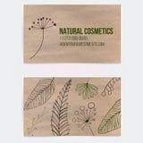 Biglietto da visita bilaterale per i cosmetici naturali Fotografia Stock