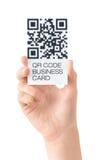 Biglietto da visita con i dati di codice di QR isolati Fotografie Stock Libere da Diritti