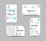 Biglietto da visita con il modello della carta di progettazione del doodler Scheda corporativa Immagine Stock Libera da Diritti