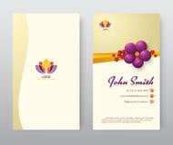 Biglietto da visita con progettazione floreale porpora del modello Illustr di vettore Fotografia Stock