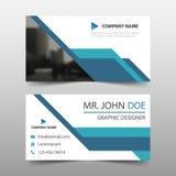 Biglietto da visita corporativo blu, modello della carta di nome, modello pulito semplice orizzontale di progettazione della disp illustrazione di stock