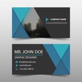 Biglietto da visita corporativo del triangolo blu, modello della carta di nome, modello pulito semplice orizzontale di progettazi illustrazione vettoriale
