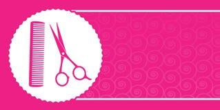 Biglietto da visita del Barbershop con le forbici ed il pettine Immagini Stock