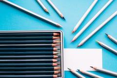Biglietto da visita del pittore e delle matite Fotografia Stock