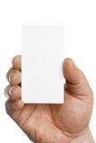 Biglietto da visita della holding della mano Fotografia Stock