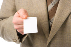 Biglietto da visita di esposizione della mano dell'uomo di affari Immagine Stock Libera da Diritti