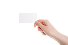 Biglietto da visita in mano femminile Fotografie Stock