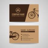 Biglietto da visita per il vecchio negozio d'annata della bicicletta o circa la bici illustrazione di stock