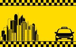 Biglietto da visita urbano con il tassì e la città Fotografie Stock Libere da Diritti