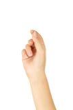 Biglietto da visita virtuale della tenuta della mano della donna, fine su Fotografie Stock Libere da Diritti