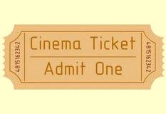 Biglietto del cinema Ammetta uno Illustrazione di vettore Fotografie Stock Libere da Diritti
