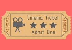 Biglietto del cinema Ammetta uno Illustrazione di vettore Immagine Stock