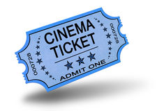 Biglietto del cinematografo su bianco Fotografie Stock