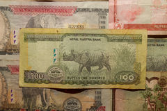 Biglietto del Nepal Banconote delle denominazioni differenti Fotografia Stock Libera da Diritti